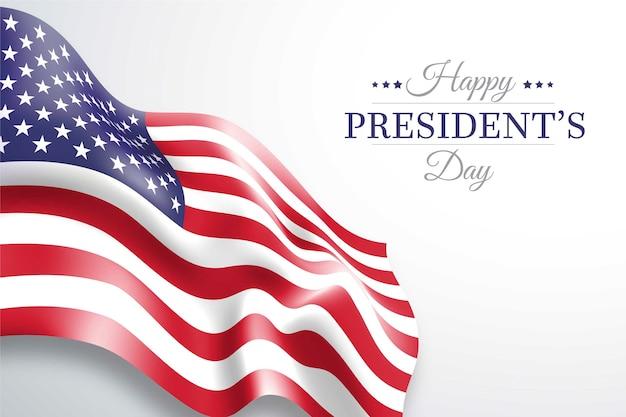 Letras e bandeira americana do dia do presidente