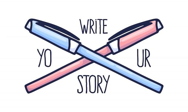 Letras e duas canetas desenhadas à mão de rosa e azul