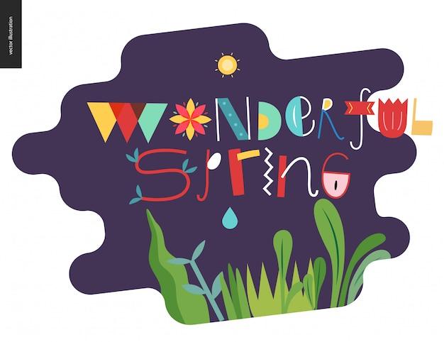 Letras e elementos maravilhosos de primavera