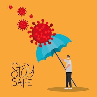 Letras e homem com uma máscara de segurança, partículas vermelhas e um guarda-chuva em uma ilustração amarela