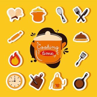 Letras e ícones de ferramentas de cozinha