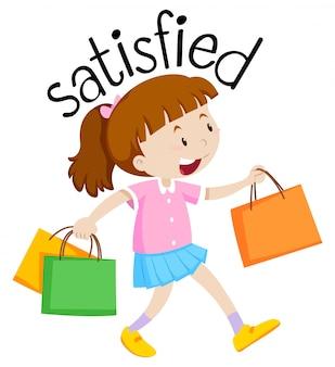 Letras e menina satisfeita com sacos de compras