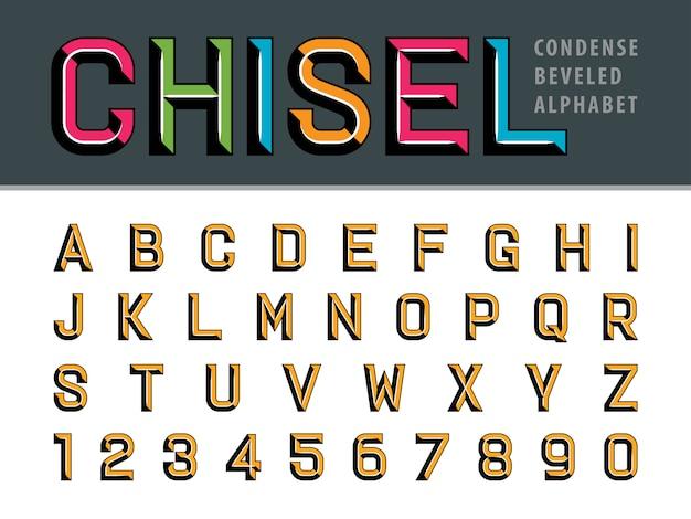 Letras e números cinzelados modernos do alfabeto, fontes estilizadas chanfradas