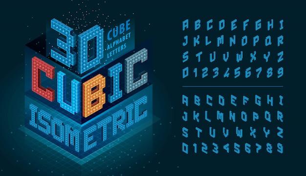 Letras e números do alfabeto de cubo