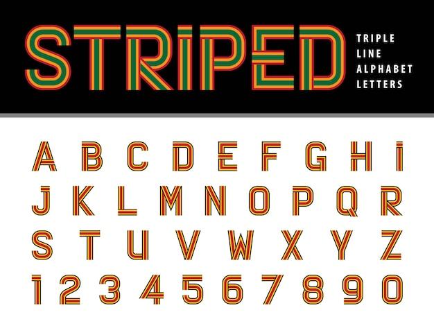 Letras e números do alfabeto moderno, triple line stripes font