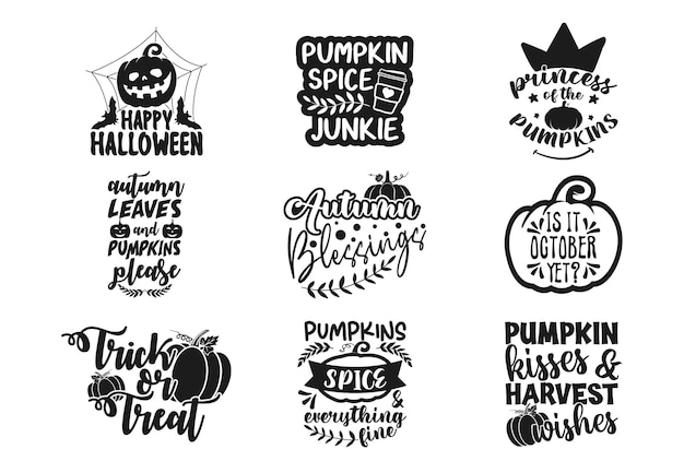 Letras e tipografia em preto e branco de halloween