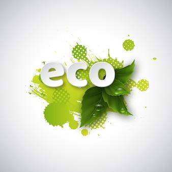 Letras ecológicas em folhas verdes