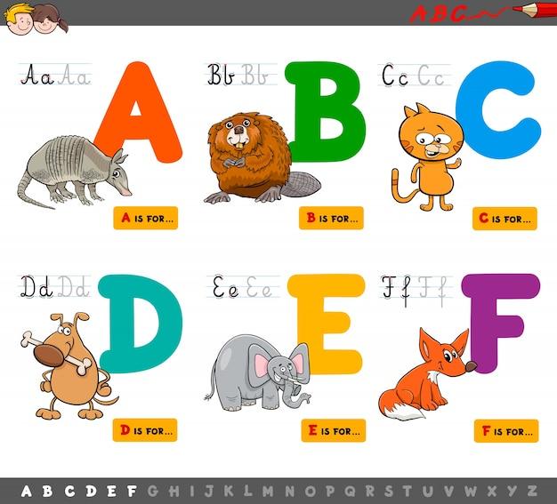 Letras educacionais do alfabeto de desenhos animados para aprender