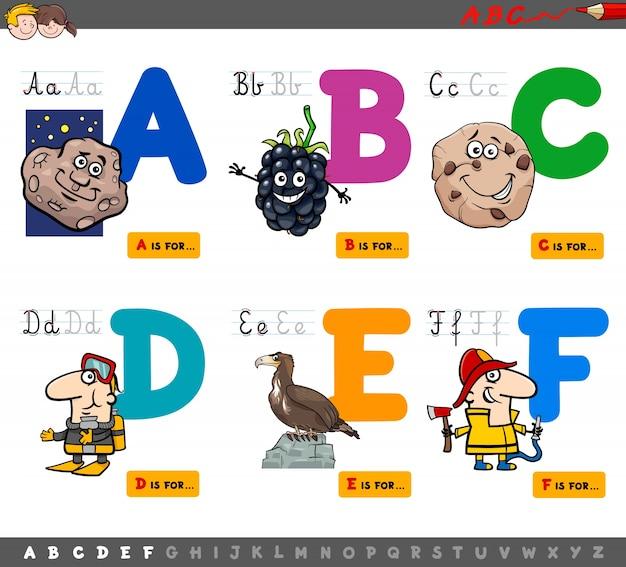 Letras educacionais do alfabeto de desenhos animados