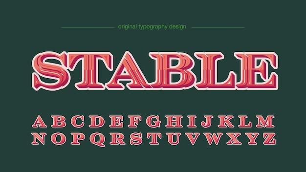 Letras elegantes com serifa 3d vermelha para rótulos