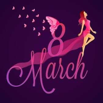 Letras elegantes de 8 de março