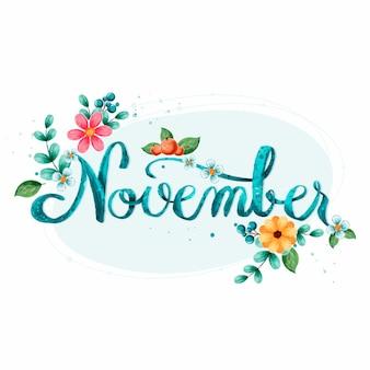 Letras em aquarela de novembro