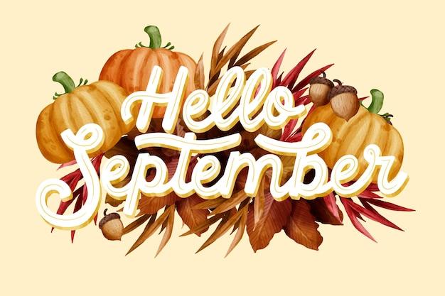 Letras em aquarela, olá, setembro