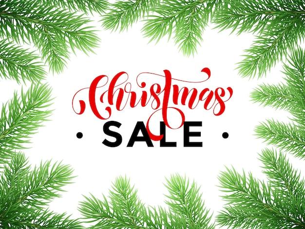 Letras em vermelho com texto promocional de venda de natal