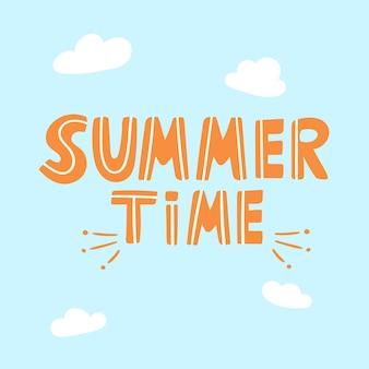 Letras engraçadas de caligrafia de bebê no horário de verão