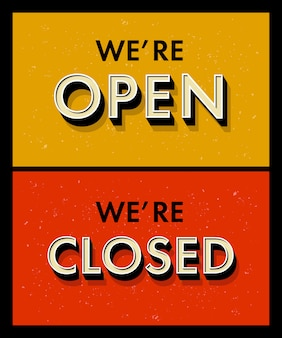 Letras estamos abertos fechados para uma porta cadastre-se no estilo grunge vintage. letras 3d com chanfro