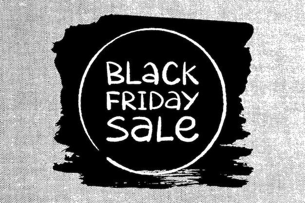 Letras feitas à mão de venda de sexta-feira negra em um fundo cinza de calça jeans. ilustração vetorial