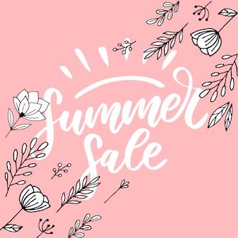 Letras feitas de flores e folhas venda de verão férias flyer banner verão de vendas