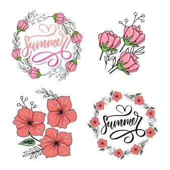 Letras feitas de flores e folhas