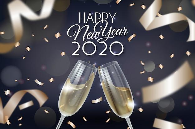 Letras feliz ano novo 2020 com papel de parede realista decoração