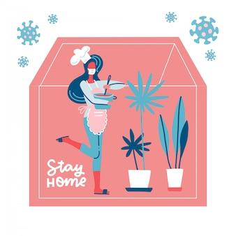 Letras ficar em casa. jovem mulher com panela em mãos cozinhando. auto-isolamento pandêmico de coronavírus, assistência médica, proteção. covid-19 fora da silhueta da casa. ilustração plana colorida