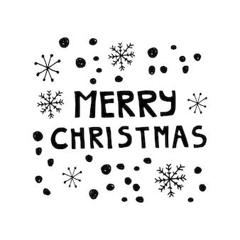 Letras fofas de ano novo e natal. ilustração vetorial desenhada à mão. elementos de inverno