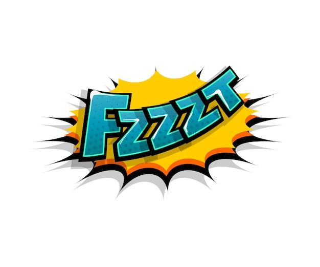 Letras fzzzt, fzz, uau. balão de fala em quadrinhos