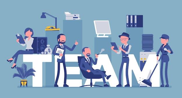 Letras gigantes da equipe e pessoas