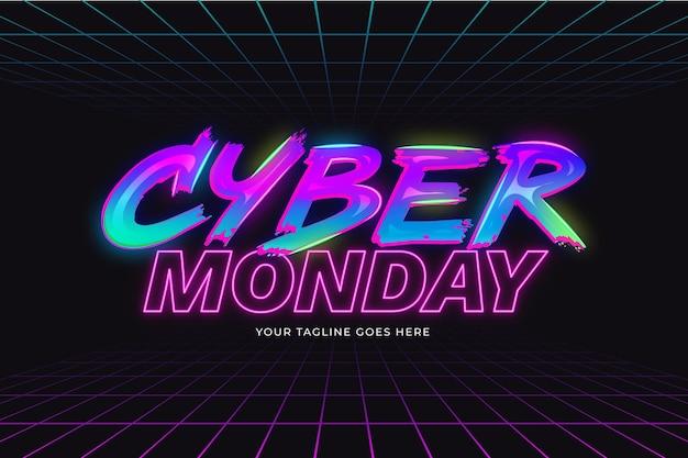 Letras gradientes em néon cibernético de segunda-feira