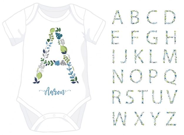 Letras grandes do alfabeto floral e nome na parte inferior