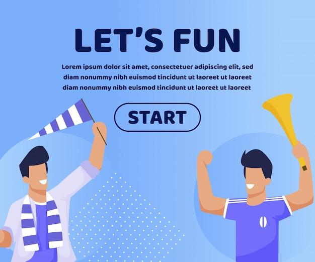 Letras informativas permitem slide divertido. quadro equipe unida pelo objetivo comum de relaxar em casa. caras felizes torcem ativamente para time de futebol usando chifre e bandeira. ilustração.