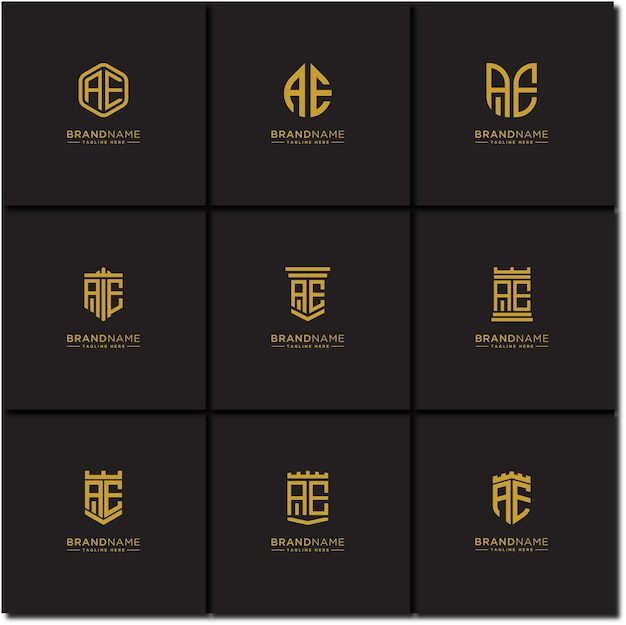 Letras iniciais ae conjunto de logotipos modelos iniciais
