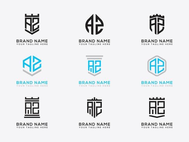 Letras iniciais do modelo definir ícone do logotipo az