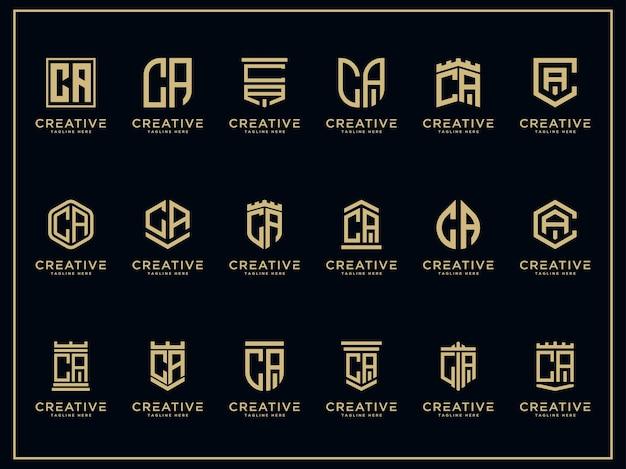 Letras iniciais do modelo definir ícone do logotipo da ca