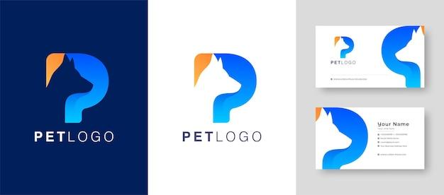 Letras iniciais modernas mark p letter com cão de estimação gato e animal com cartão de visita premium Vetor Premium