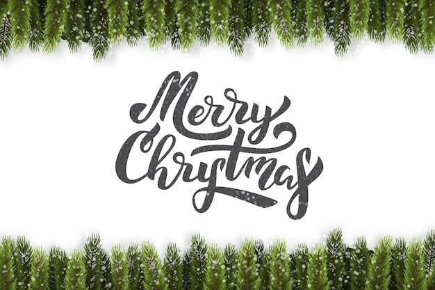 Letras isoladas realistas para feliz natal com borda de abeto para decoração e cobertura em fundo branco