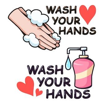 Letras lave as mãos com ilustração