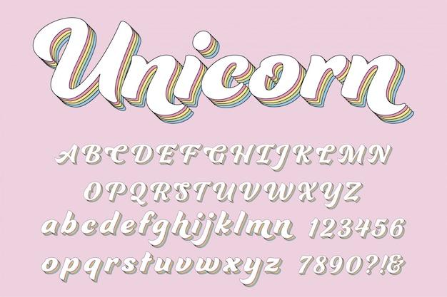 Letras mágicas do alfabeto 3d, números e símbolos.