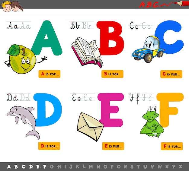 Letras maiúsculas alfabeto conjunto educacional