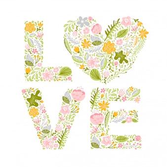 Letras maiúsculas do casamento da flor