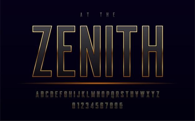 Letras maiúsculas emolduradas em ouro elegante e números, alfabeto.