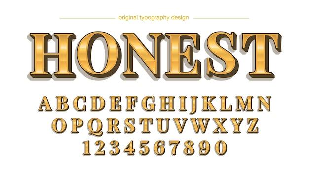 Letras maiúsculas isoladas com serifa dourada
