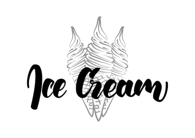 Letras manuscritas de sorvete com desenho de linha de esboço de cone desenhado à mão