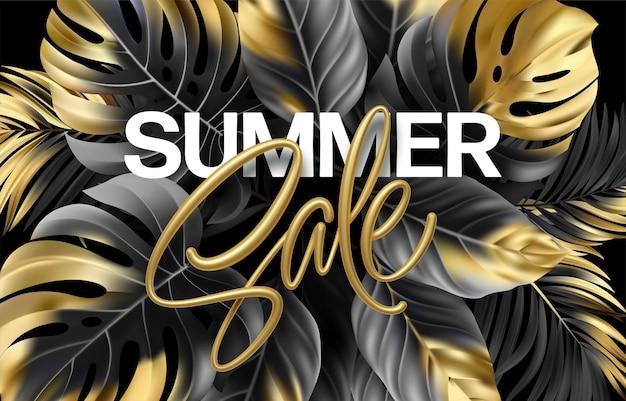 Letras metálicas douradas de venda de verão em um fundo preto
