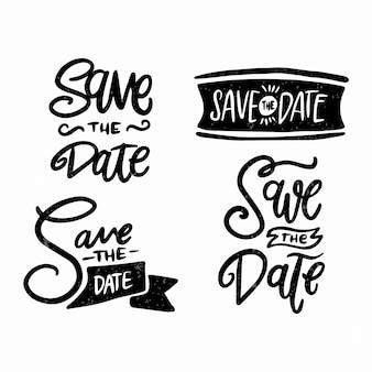 Letras minimalistas de traço preto com salvar a data