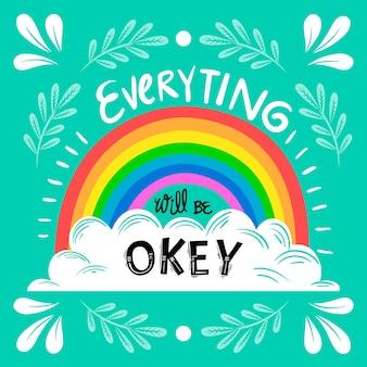 Letras motivacionais com arco-íris