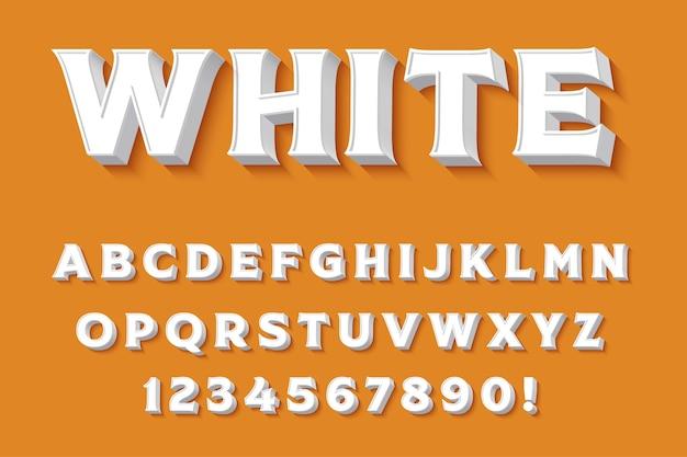 Letras, números e símbolos do alfabeto branco 3d moderno. tipografia limpa. vetor