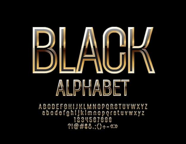 Letras, números e símbolos do alfabeto preto e dourado. fonte chique brilhante
