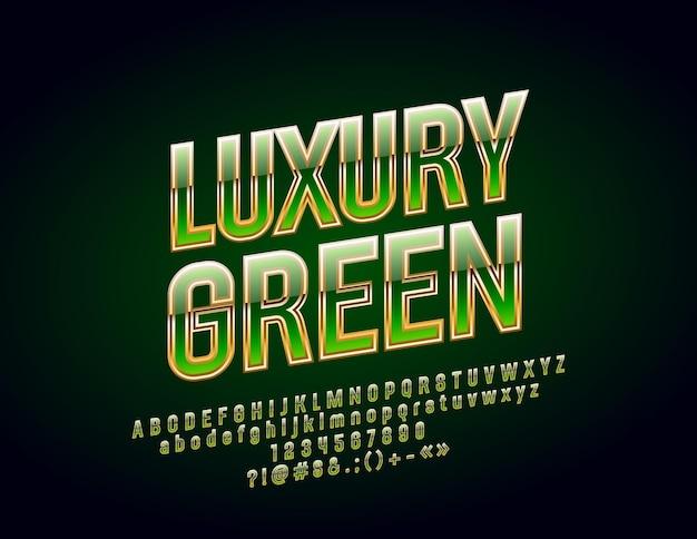Letras, números e símbolos do alfabeto verde e dourado de luxo. fonte chique brilhante