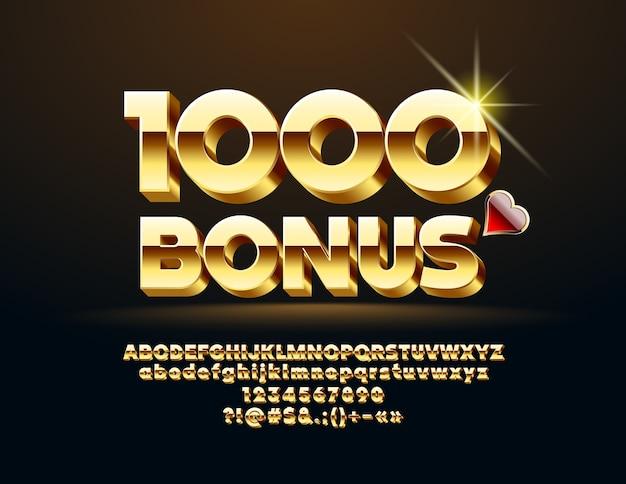 Letras, números e símbolos do casino chic. fonte de ouro 3d.
